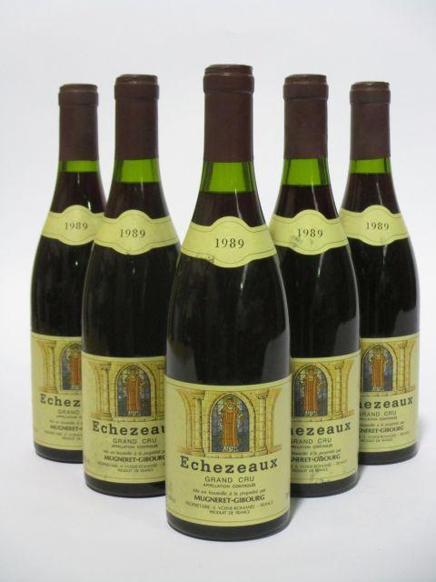 5 bouteilles ECHEZEAUX 1989 Grand Cru