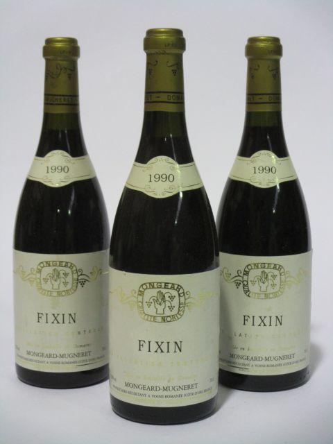 12 bouteilles FIXIN 1990 Domaine Mongeard-Mugneret (étiquettes fanées et léger tachées dont 2 bouteilles couleuses) (cave 6)