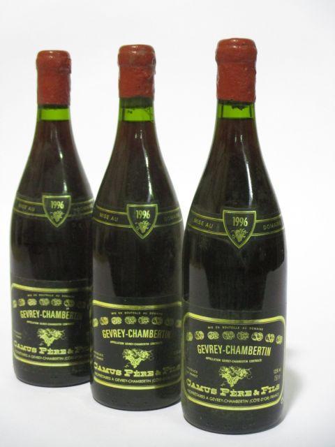 9 bouteilles GEVREY CHAMBERTIN 1996 Domaine Camus Père & Fils (étiquettes fanées) (cave 6)