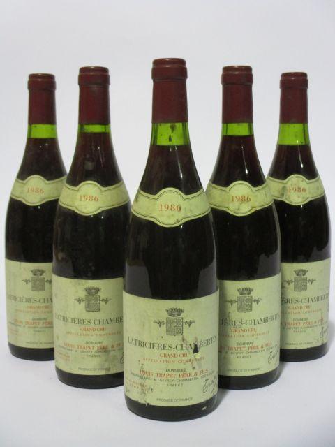 6 bouteilles LATRICIERES CHAMBERTIN 1986 Grand Cru