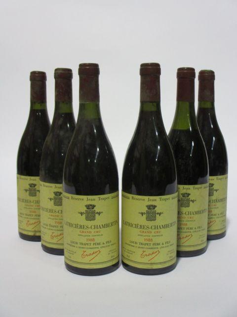6 bouteilles LATRICIERES CHAMBERTIN 1988 Grand Cru