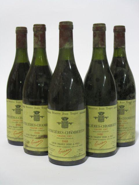 5 bouteilles LATRICIERES CHAMBERTIN 1988 Grand Cru