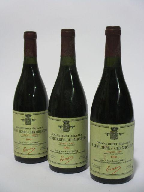 3 bouteilles LATRICIERES CHAMBERTIN 1990 Grand Cru