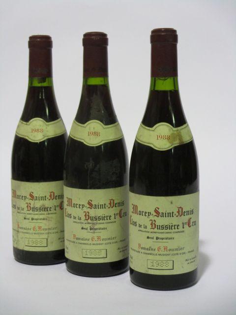 3 bouteilles MOREY SAINT DENIS 1988 1er cru Clos de la Bussière