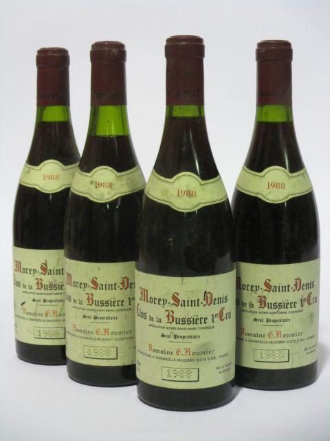 4 bouteilles MOREY SAINT DENIS 1988 1er cru Clos de la Bussière