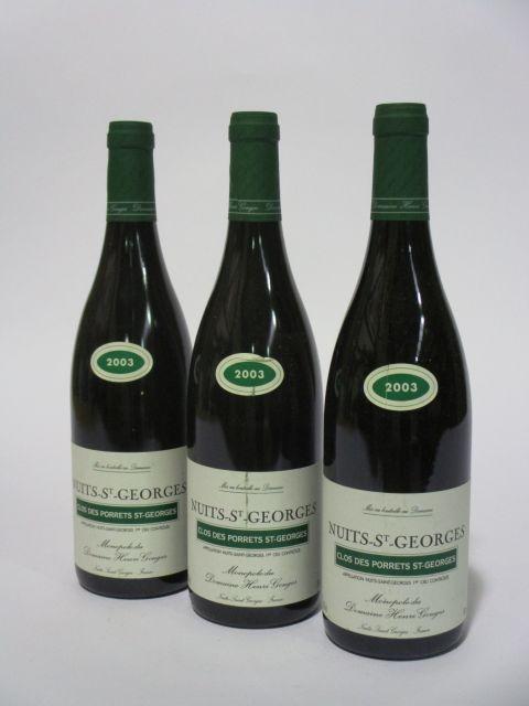 6 bouteilles NUITS SAINT GEORGES 2003 1er cru Clos Des Porrets Saint Georges