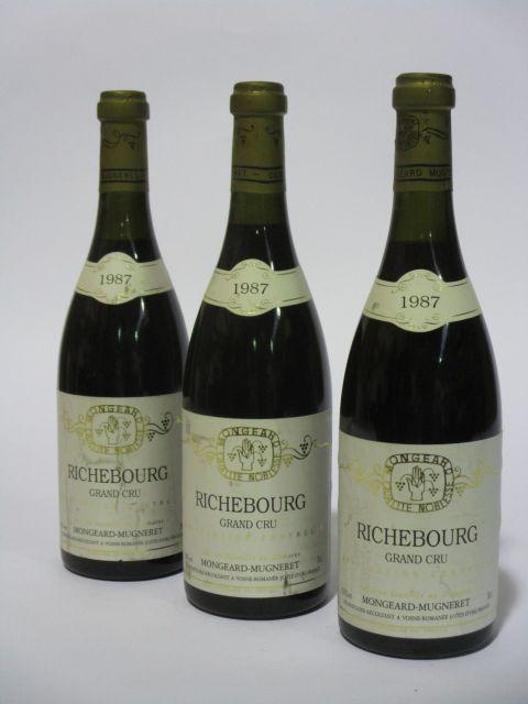 3 bouteilles RICHEBOURG 1987 Grand Cru