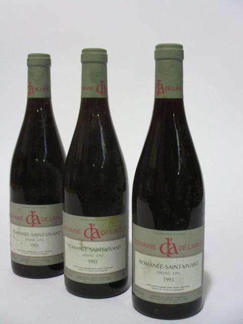 3 bouteilles ROMANEE SAINT VIVANT 1993 Grand Cru