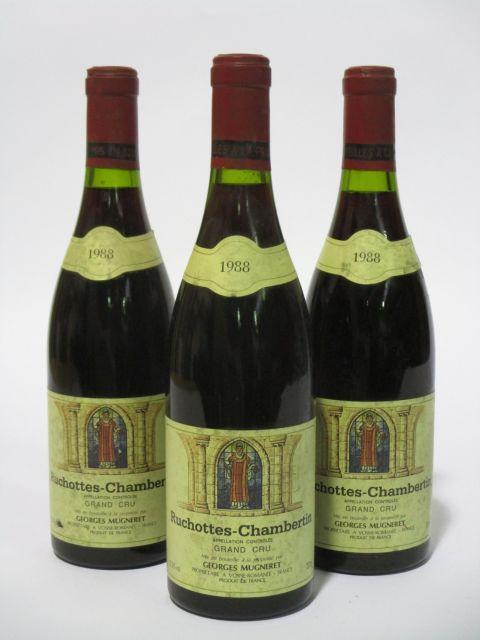3 bouteilles RUCHOTTES CHAMBERTIN 1988 Grand Cru