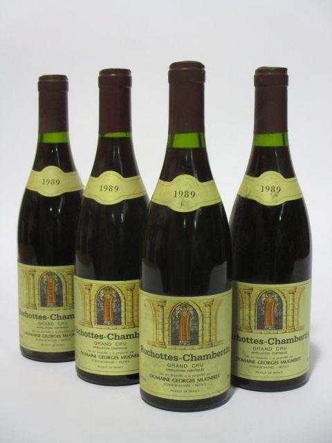 4 bouteilles RUCHOTTES CHAMBERTIN 1989 Grand Cru