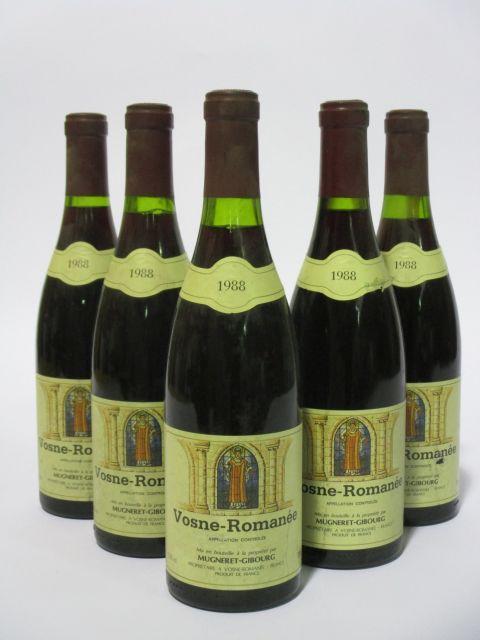 5 bouteilles VOSNE ROMANEE 1988 Grand Cru