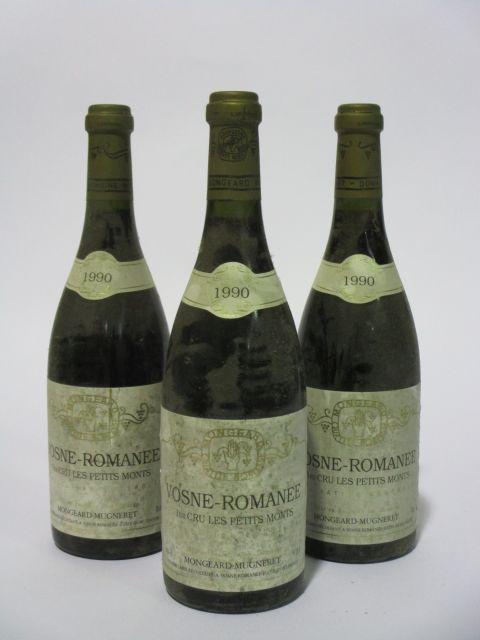 6 bouteilles VOSNE ROMANEE 1990 1er cru Les Petits Monts