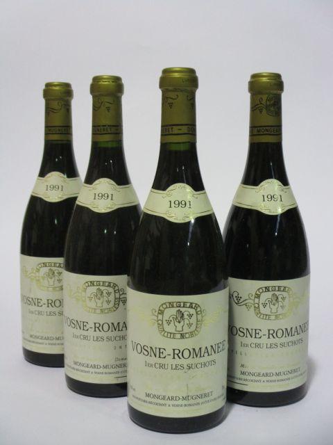 4 bouteilles VOSNE ROMANEE 1991 1er cru Les Suchots