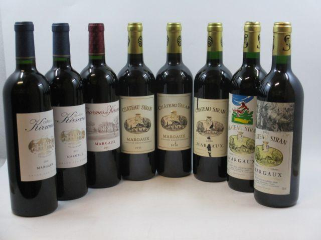 8 bouteilles : 1 bt : CHARMES DE KIRWAN 2011 Margaux 1 bt : CHÂTEAU KIRWAN 2010 Margaux 1 bt : CHÂTEAU KIRWAN 2011 Margaux 1 b...