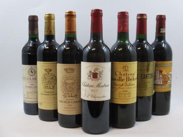 7 bouteilles 1 bt : CHÂTEAU BRANE CANTENAC 1996 2è GC Margaux (étiquette déchirée) 1 bt : CHÂTEAU LASCOMBES 1989 2è GC Margaux ...