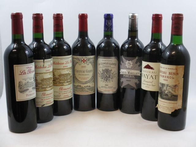8 bouteilles  1 bt : CHÂTEAU FAYAT 2010 Pomerol 1 bt : CHÂTEAU GAZIN 2011 Pomerol 1 bt : CHÂTEAU LA CONSEILLANTE 2001 Pomerol ...