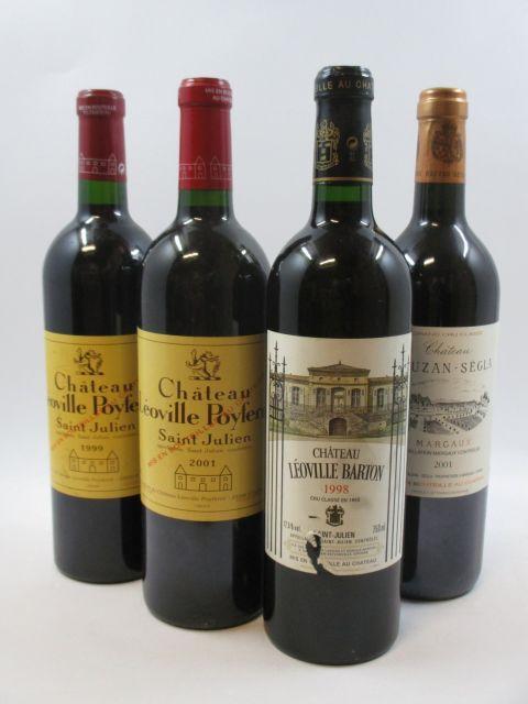 4 bouteilles  1 bt : CHÂTEAU RAUZAN SEGLA 2001 2è GC Margaux 1 bt : CHÂTEAU LEOVILLE BARTON 1998 2è GC Saint Julien (étiquette lég...