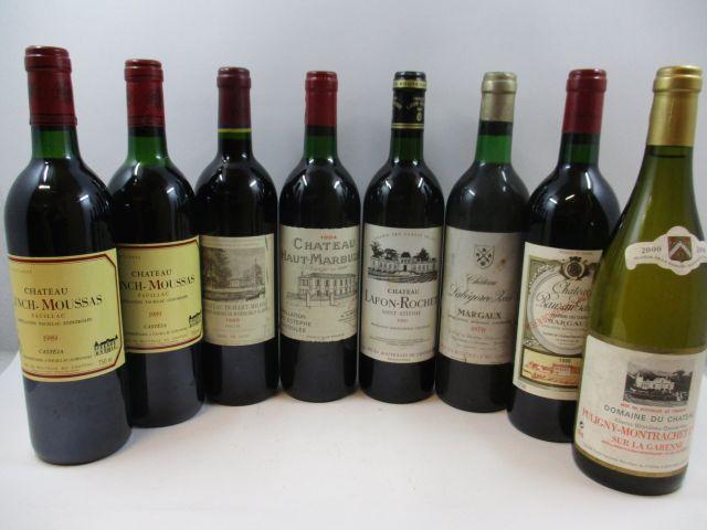 8 bouteilles 2 bts : CHÂTEAU LYNCH MOUSSAS 1989 5e GC Pauillac (1 légèrement bas, 1 haute épaule)