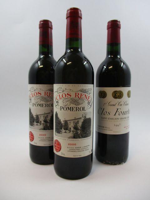 3 bouteilles 2 bts : CLOS RENE 2000 Pomerol