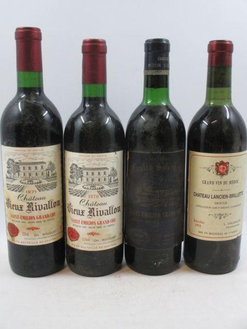 11 bouteilles 4 bts :  CHÂTEAU LANCIEN-BRILLETTE 1951 Moulis (1 légèrement bas, 1 bouchon légèrement enfoncé) 1 bt :  CHÂTEAU M...