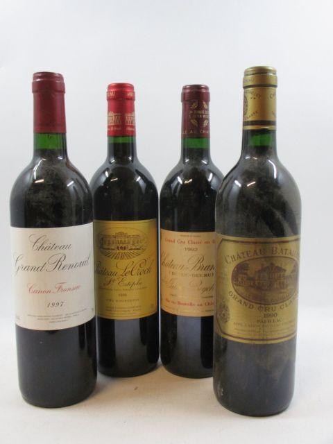 12 bouteilles 4 bts : CHÂTEAU BATAILLEY 1990 GCC Pauillac (étiquette abimée)