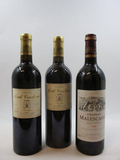 12 bouteilles 4 bts : CHÂTEAU MALESCASSE 1995 Haut Médoc (étiquettes fanées)