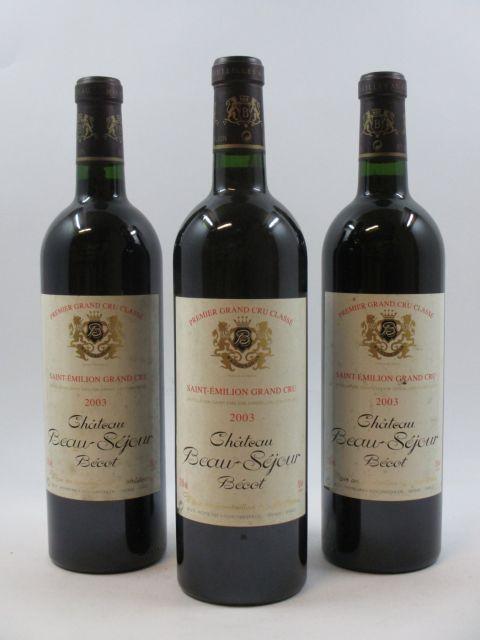 3 bouteilles CHÂTEAU BEAUSEJOUR BECOT 2003 1er GCC (B) Saint Emilion  (cave 11)