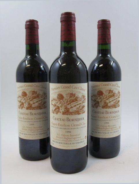 6 bouteilles CHATEAU BEAUSEJOUR DUFFAU LAGARROSSE 1996 1er GCC (B) Saint Emilion (étiquettes léger tachées)
