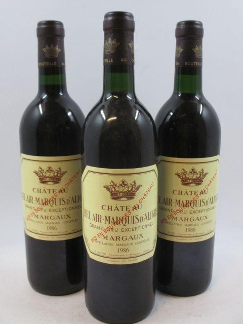 9 bouteilles CHÂTEAU BEL AIR MARQUIS D'ALIGRE 1986 Margaux (6 base goulot)