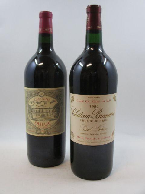 2 magnums: 1 mag CHÂTEAU BRANAIRE DUCRU 1996 4è GC Saint Julien Caisse bois d'origine 1 mag DULUC DUCRU 1996 Saint Julien (cave 12)