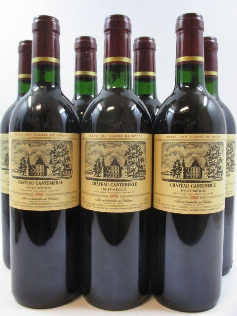 7 bouteilles CHÂTEAU CANTEMERLE 1988 5è GC Haut Médoc (2 base goulot)
