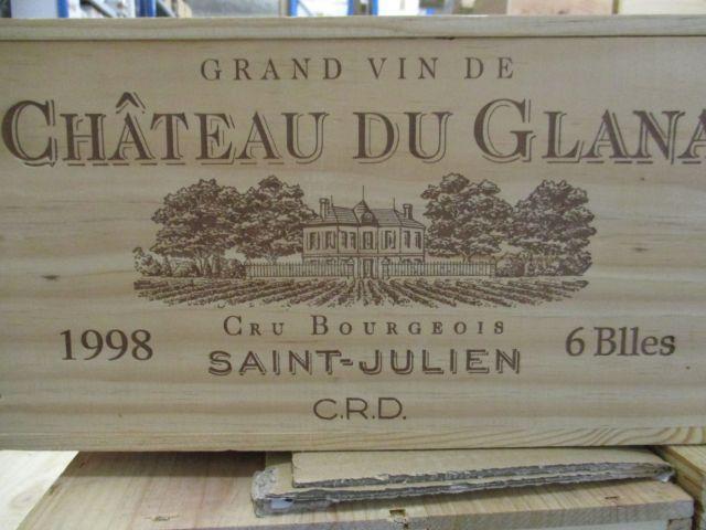 6 bouteilles CHÂTEAU DU GLANA 1998 Saint Julien Caisse bois d'origine (cave 1)