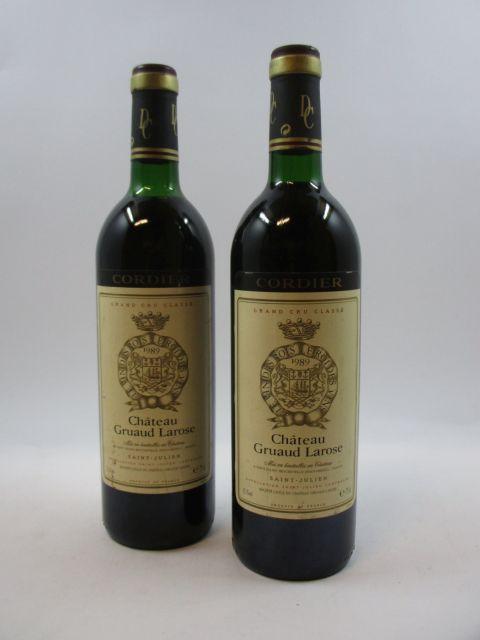2 bouteilles CHÂTEAU GRUAUD LAROSE 1989 2è GC Saint Julien (1 base goulot et 1 haute épaule