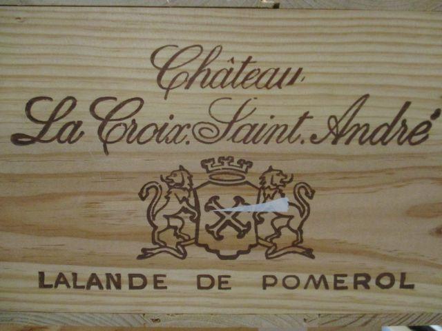 12 bouteilles CHÂTEAU LA CROIX SAINT ANDRE 2003 Lalande de Pomerol Caisse bois d'origine (cave 1)