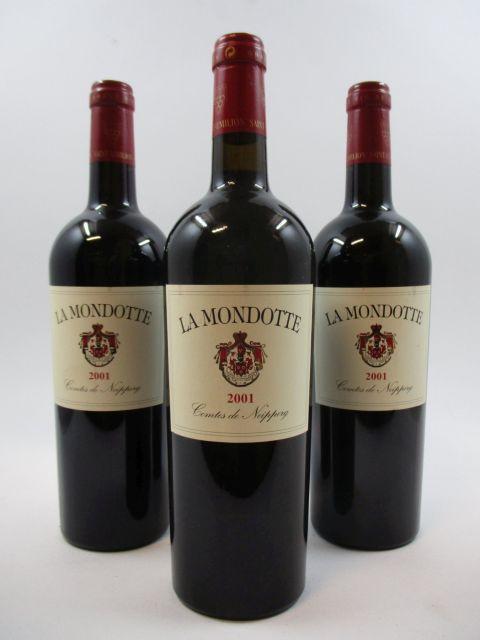 3 bouteilles LA MONDOTTE 2001 GC Saint Emilion