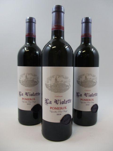 3 bouteilles CHÂTEAU LA VIOLETTE 2010 Pomerol