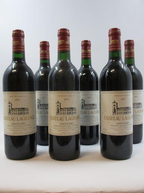 6 bouteilles CHÂTEAU LAGRANGE 1993 3è GC Saint Julien (3 base goulot