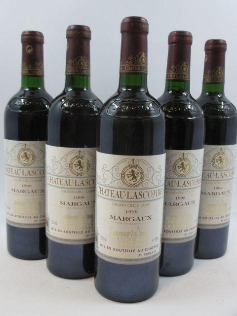 5 bouteilles CHÂTEAU LASCOMBES 1998 2è GC Margaux (base goulot) (cave 1)