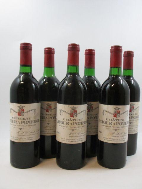 6 bouteilles CHÂTEAU LATOUR A POMEROL 1985 Pomerol (5 base goulot, 1 légèrement bas
