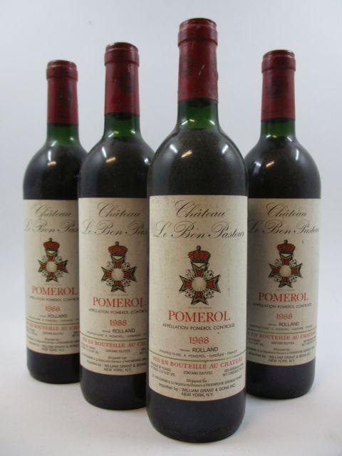 4 bouteilles CHÂTEAU LE BON PASTEUR 1988 Pomerol (légèrement bas