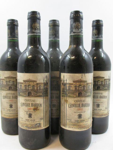 5 bouteilles CHÂTEAU LEOVILLE BARTON 1993 2è GC Saint Julien (étiquettes très abimées