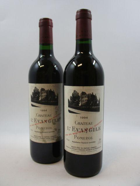 2 bouteilles CHÂTEAU L'EVANGILE 1994 Pomerol (étiquettes tachées) (cave 11)