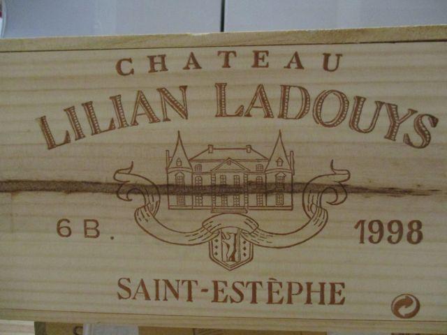 6 bouteilles CHÂTEAU LILIAN LADOUYS 1998 Saint Estèphe Caisse bois d'origine (cave 1)