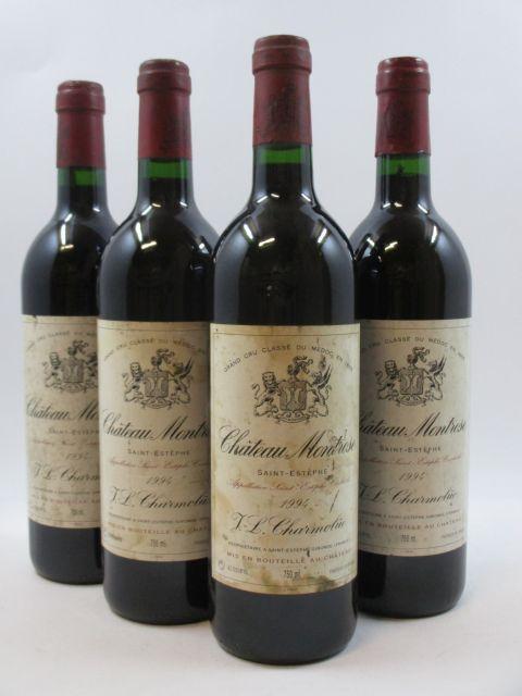 4 bouteilles CHÂTEAU MONTROSE 1994 2è GC Saint Estèphe (étiquettes tachées) (cave 11)