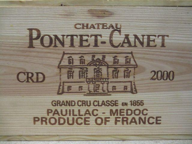 6 bouteilles CHÂTEAU PONTET CANET 2000 5è GC Pauillac Caisse bois d'origine (cave 12)