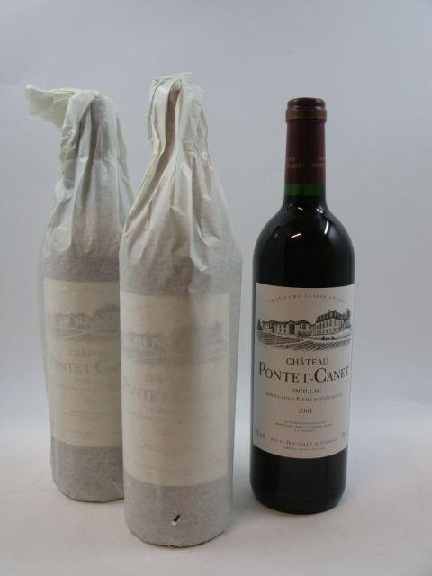 6 bouteilles CHÂTEAU PONTET CANET 2001 5è GC Pauillac Caisse bois d'origine (cave 12)