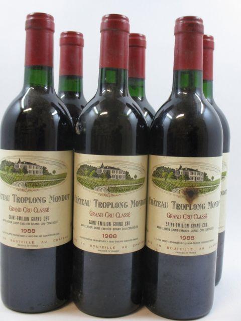6 bouteilles CHÂTEAU TROPLONG MONDOT 1988 GCC Saint Emilion (3 étiquettes tachées)