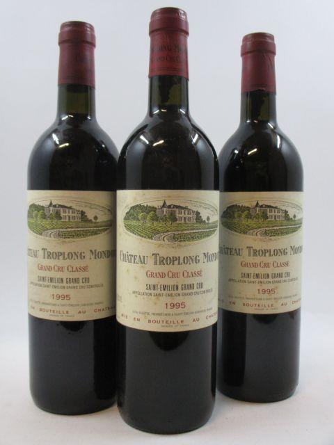 3 bouteilles CHÂTEAU TROPLONG MONDOT 1995 GCC Saint Emilion (base goulot étiquettes tachées)