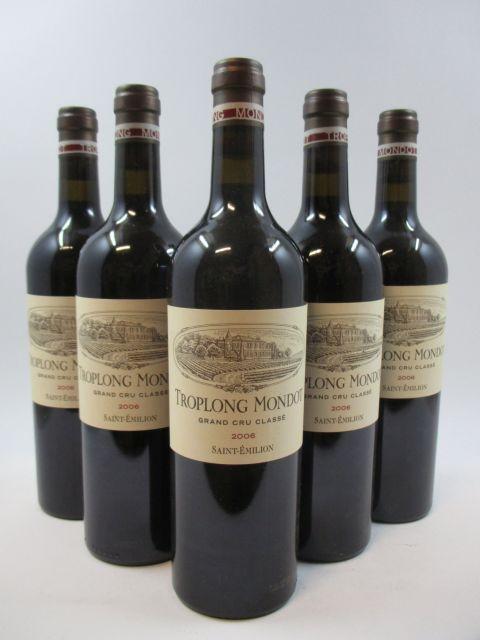5 bouteilles CHÂTEAU TROPLONG MONDOT 2006 1er GCC (B) Saint Emilion