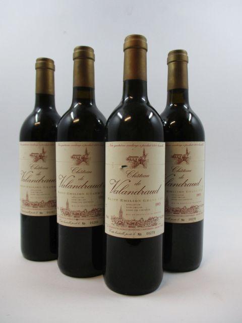 4 bouteilles CHÂTEAU VALANDRAUD 1993 GC Saint Emilion (étiquettes fanées)